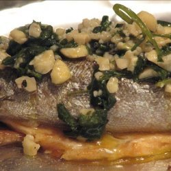Grilled Trout With Cashew and Garlic Butter recipe