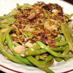 Green Beans and Mushrooms Braised in Cream recipe