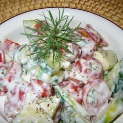 Sarasota's Cucumber Tomato Salad in a Creamy Dill Sauce recipe
