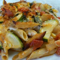 Baked Penne With Corn, Zucchini and Basil recipe