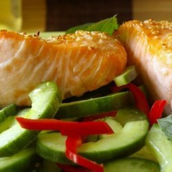 Roasted Salmon With Chile Minted Cucumbers recipe