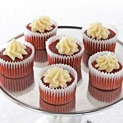 Mini Red Velvet Cupcakes with White Chocolate Mousse recipe