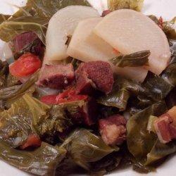 Mixed Greens With Turnips & Tasso recipe