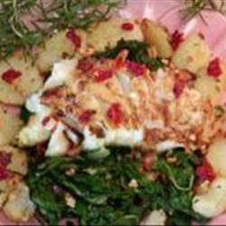 Sea Bass on a Bed of Swiss Chard and Browned Rosemary Potatoes recipe