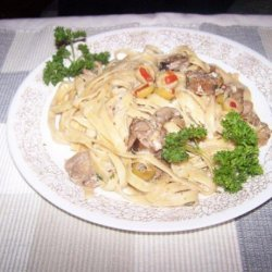Fettuccine With Italian Sausage and Olives recipe