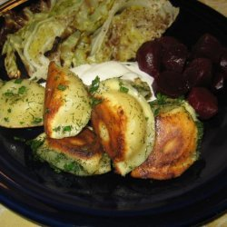 Pierogies Pot Stickers With Herbs and Sour Cream recipe