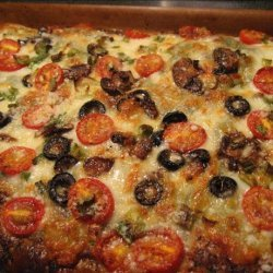 Greek Pizza on Phyllo With Feta and Tomatoes recipe
