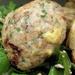 Chicken Tomato and Feta Patties on a Spinach Salad recipe