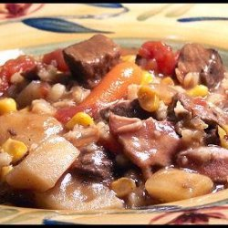Crock Pot Beef Bacon and Barley Soup recipe