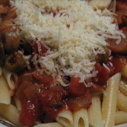 Easy Olive and Mushroom Pasta Saute recipe