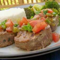 Grilled Tuna Steaks With Tomato and Herb Topping recipe