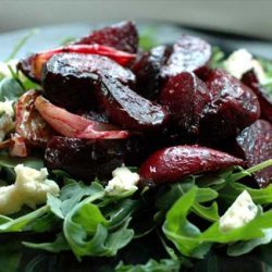 Warm Roasted Beet Salad With Spinach and Blue Cheese recipe