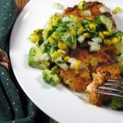 Spicy Shrimp Cakes With Corn and Avocado Salsa recipe