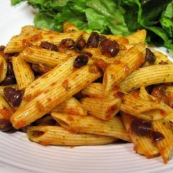 Pasta and Black Bean Salad With Roasted Red Pepper Dressing recipe