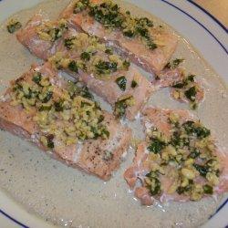 Salmon With Basil Champagne Cream Sauce recipe