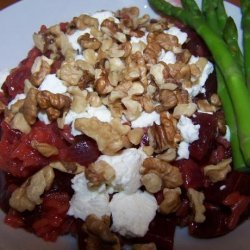 Beet Risotto With Goat Cheese and Walnuts recipe