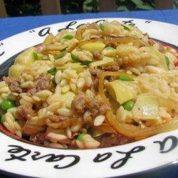 Orzo Risotto With Sausage and Artichokes recipe
