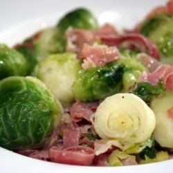 Uncle John's Brussels Sprouts With Prosciutto and Leeks recipe