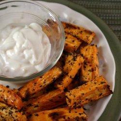 Sweet Potato Fries With Basil Salt and Garlic Mayonnaise recipe