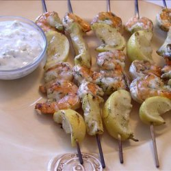 Shrimp and Lemon Skewers With Feta Dill Sauce recipe