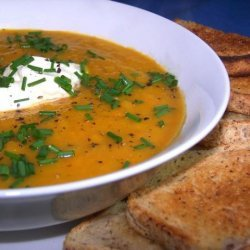 Roasted Pumpkin Soup With Roasted Garlic recipe