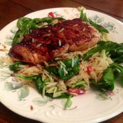 Romano's Macaroni Grill Teriyaki Salmon With Spinach Orzo recipe