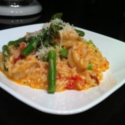 Shrimp and Sun-Dried Tomato Risotto With Asparagus recipe