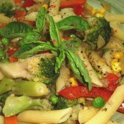 Creamless Penne Pasta Primavera With Olive Oil and Garlic recipe