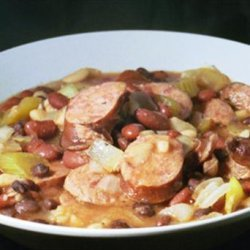 Slow Cooked Three Beans and Sausage recipe