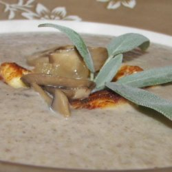 Mushroom Soup With Halloumi Croutons recipe