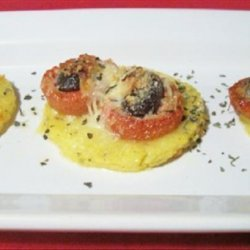 Polenta Pizzas With Roasted Tomatoes and Kalamata Olives recipe