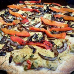 Hummus Pizza With Caramelized Onions and Roasted Red Peppers recipe