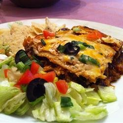 Layered Chicken and Black Bean Enchilada Casserole recipe