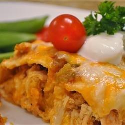 Quick and Easy Green Chile Chicken Enchilada Casserole recipe