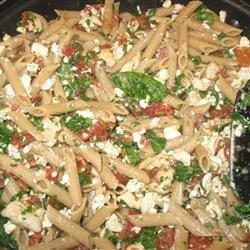 Mostaccioli with Spinach and Feta recipe
