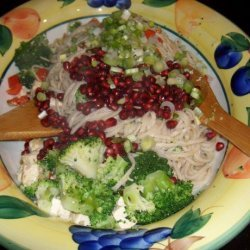 Udon Noodles With Walnuts and Pomegranates recipe