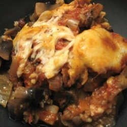 Baked Eggplant With Portabellas and Tomato Sauce (Vegetarian) recipe