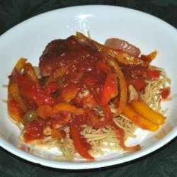 Braised Chicken Thighs With Bell Peppers, Olives and Tomatoes recipe
