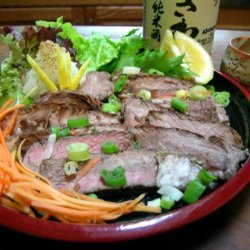 Ginger Beef Tataki With Lemon-Soy Dipping Sauce recipe
