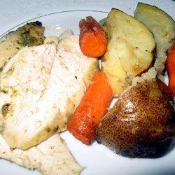 Roast Chicken With Cilantro Pesto and Vegetables recipe