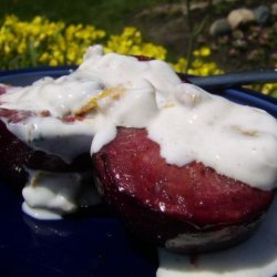 Grilled Plums With Spiced Walnut Yogurt Sauce recipe