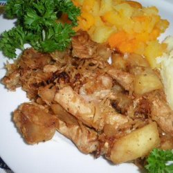 Pork Chops With Sauteed Apples and Sauerkraut recipe