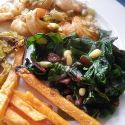 Swiss Chard or Spinach With Pine Nuts and Raisins (ww) recipe