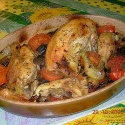 French Roast Chicken and Mediterranean Vegetables in Wine recipe