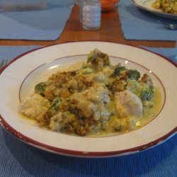 Classic One-Dish Chicken Stuffing Bake With Vegetables recipe
