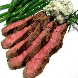 Grilled Flat Iron Steak with Blue Cheese-Chive Butter recipe