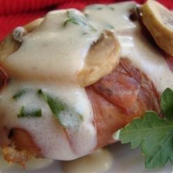 Chicken with Mushrooms, Prosciutto, and Cream Sauce recipe