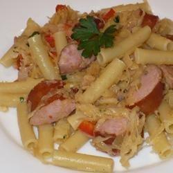 Pasta with Kielbasa and Sauerkraut recipe