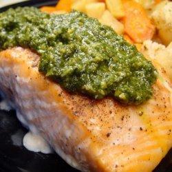 Pan Seared Salmon With Lemon Basil Pesto recipe