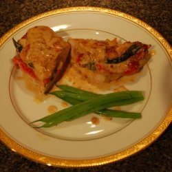 Red Bell Pepper Stuffed Chicken With White Cream Sauce recipe
